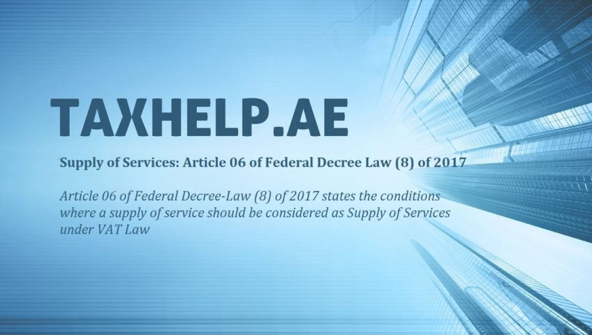 Supply of Services under VAT Law